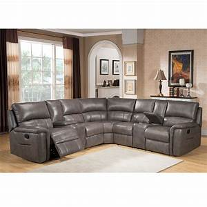 cortez premium top grain gray leather reclining sectional With gray sectional sofa