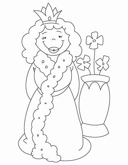Queen Coloring Pages Vase Cartoon Drawing Hearts