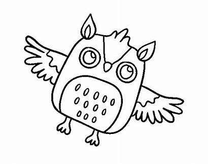 Halloween Coloring Owl Flying Horned Coloringcrew User