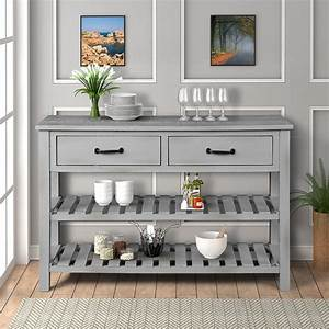 Entryway, Table, With, Drawer, Premium, Solid, Wood, Console, Table, With, 2, Spacious, Drawers, 2, Bottom