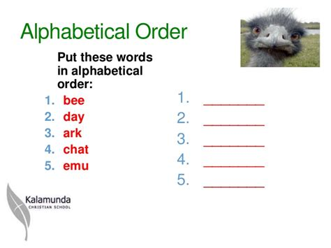 Click ok to sort the names and put them in alphabetical order. Alphabetical order 2 ppt tg 2012