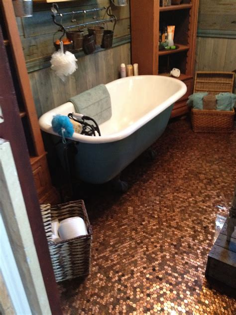 Kitchen Floor Of Pennies by Vintage Bathroom With Floor Done With My Own
