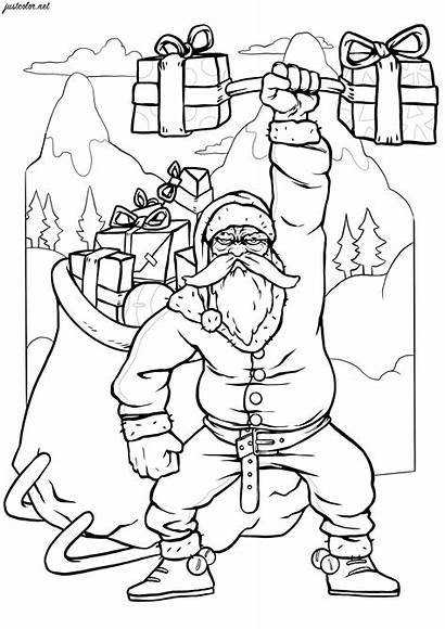 Santa Christmas Coloring Pages Adults Strongest Ever