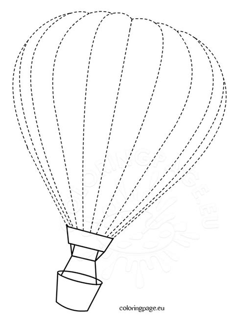 traceable hot air balloon coloring page