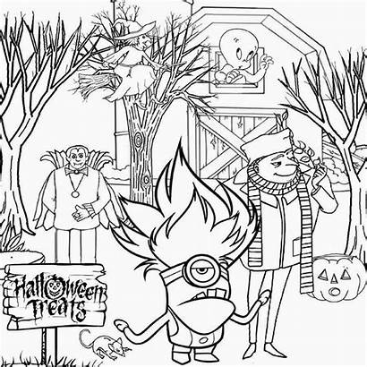 Coloring Minion Pages Trick Treat Halloween Drawing