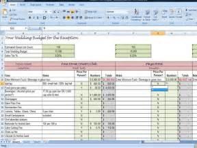 Wedding Reception Budget Worksheet