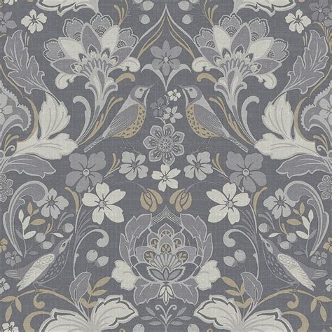 arthouse traditional folk floral damask grey wallpaper