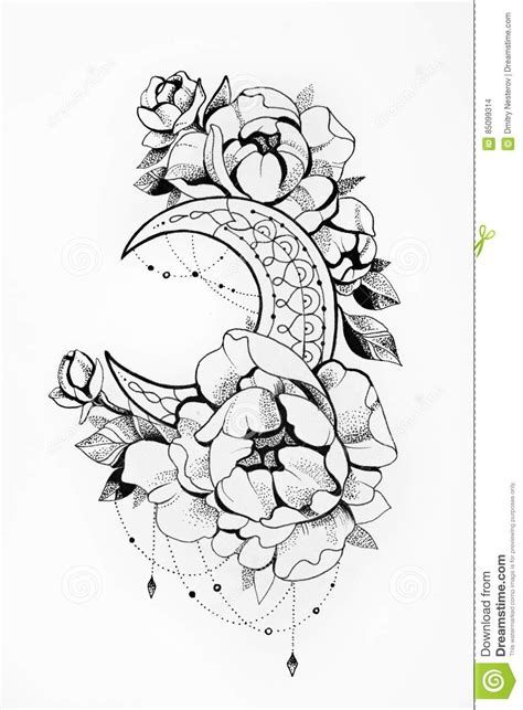 Sketch Of The Moon With Flowers On A White Background. Stock Illustration - Illustration of moon