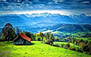 Small house on the green hill wallpaper
