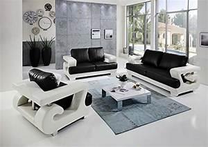 3 Sitzer 2 Sitzer Sessel : sam 3tlg sofa garnitur antonio couchgarnitur 3 sitzer 2 sitzer sessel in wei schwarz mit sam ~ Indierocktalk.com Haus und Dekorationen