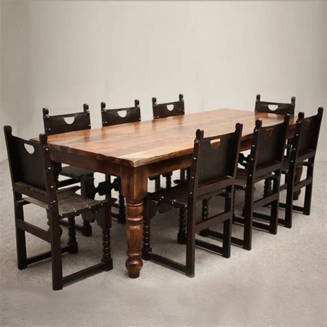 classic rustic acacia leather dining table chair set for