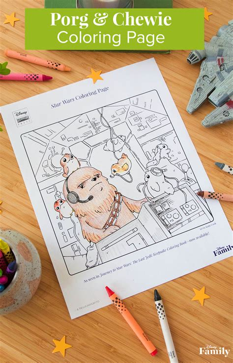porg  chewie star wars coloring page disney family