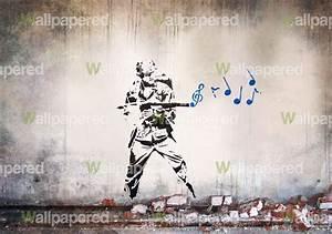 Banksy Musical Soldier wall mural   Banksy Wallpaper