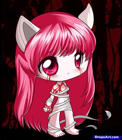 Japanese Anime Elfen Lied How To Draw Chibi Elfen Lied Step By Step Chibis Draw
