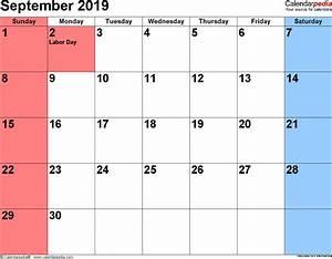 Sept 2020 Calendar Printable September 2019 Calendars For Word Excel Pdf