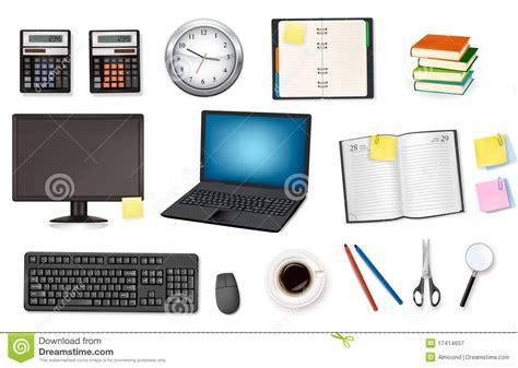 ordinateur et fournitures de bureau vecteur photographie stock libre de droits image 17414657
