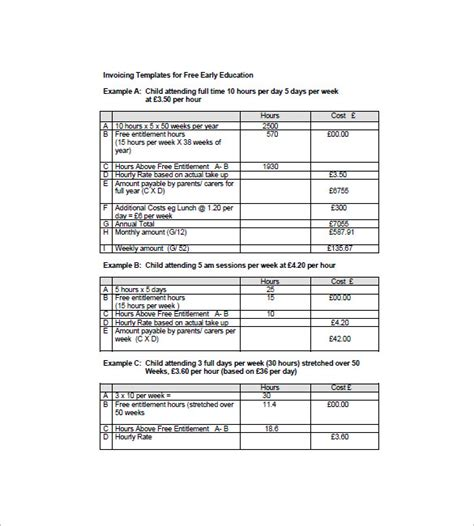 training course invoice template education invoice template 11 free word excel pdf