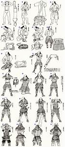 The steps needed for a samurai to equip his armor ...