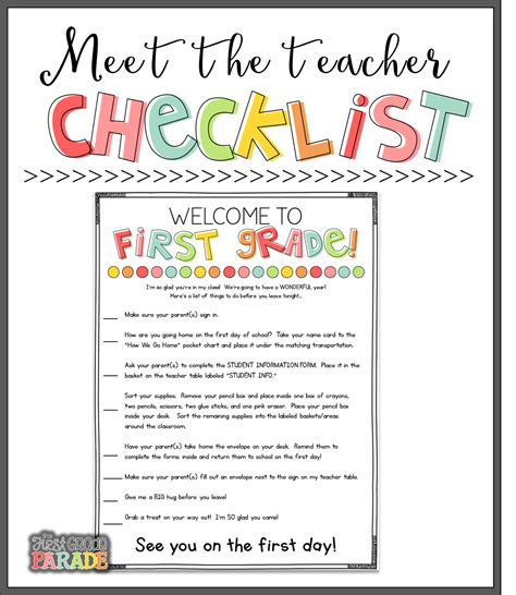 Contact The Teacher Template Free meet the teacher tips ideas the first grade parade