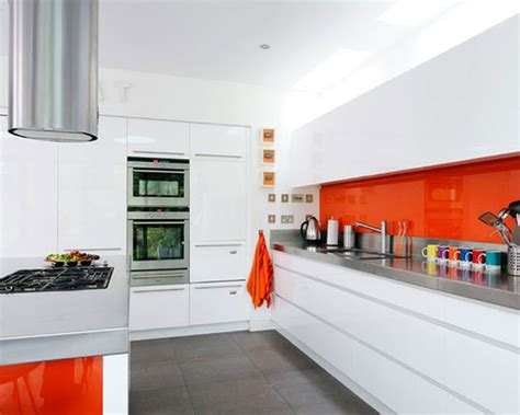 White And Orange Kitchen (