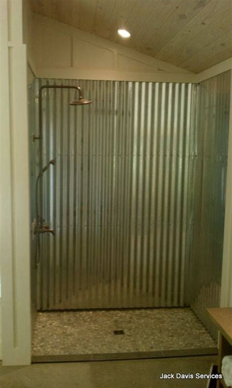 Corrugated Metal Decor by Corrugated Tin Shower With A River Rock Shower Floor Very