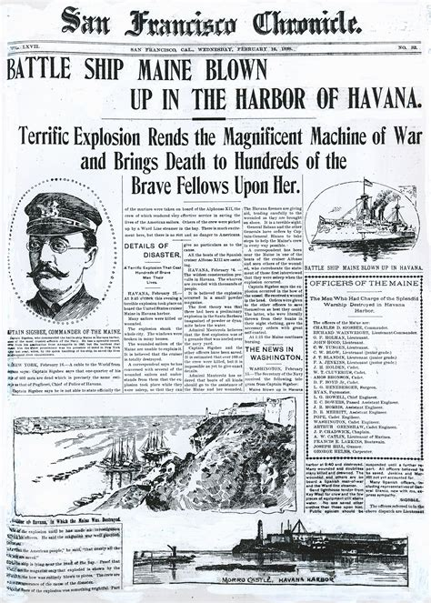 Sinking Of The Uss Maine Significance by Chronicle Covers When A War Started On The Front Pages