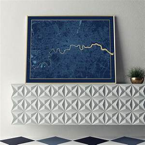 limited edition london screen print in navy and gold by ...