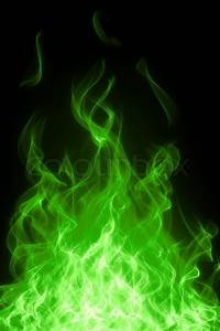 Green toxic fire flame on black ... | Stock Photo | Colourbox