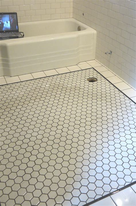 Hexagon tile with dark grout   home   Pinterest   Bathroom