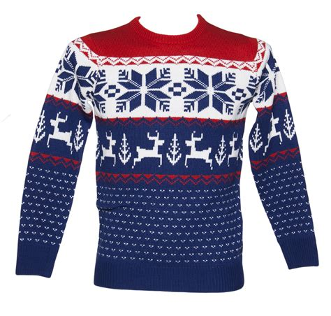 unisex blue and red wonderland knitted christmas jumper from cheesy christmas jumpers