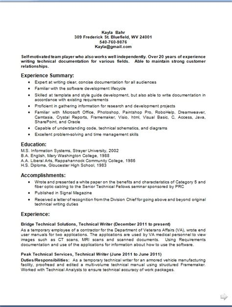 Resume Creator Htm by Technical Writer Resume Creator In Word Format Free
