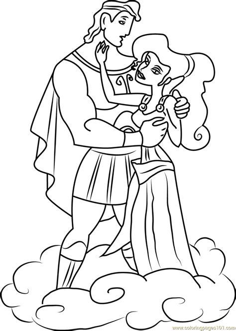 hercules  megara   love coloring page