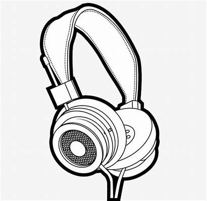 Drawing Headphones Headset Printable Line Headphone Dyer