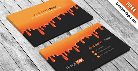 painting business card psd template designyep