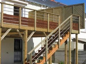 Garde Corps Terrasse Bois : terrasse bois suspendue avec garde corps bois inox home ~ Dailycaller-alerts.com Idées de Décoration