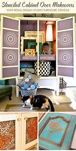 20 diy cabinet door makeovers with furniture stencils for Kitchen cabinets lowes with make your own wall art canvas