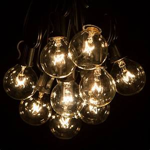 50, Foot, G40, Globe, Patio, String, Lights, With, Clear, Bulbs, For, Outdoor, String, Lighting, Black, Wire