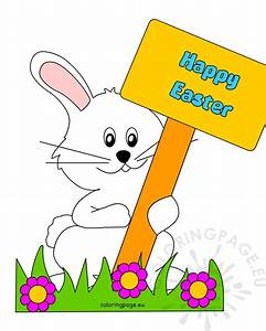 Happy Easter Bunny with Sign | Coloring Page