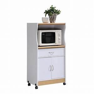 HODEDAH 1-Drawer White Microwave Cart-HIK77 WHITE - The