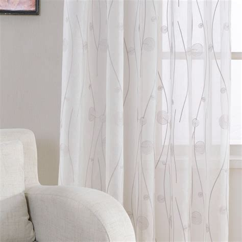 embroidered white sheer curtains  living room bedroom abstract pattern window tulle