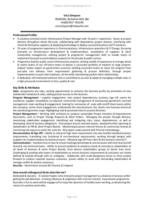it infrastructure project manager sle resume v senior project manager resume v 2