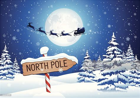 north pole sign  santa clause high res vector graphic