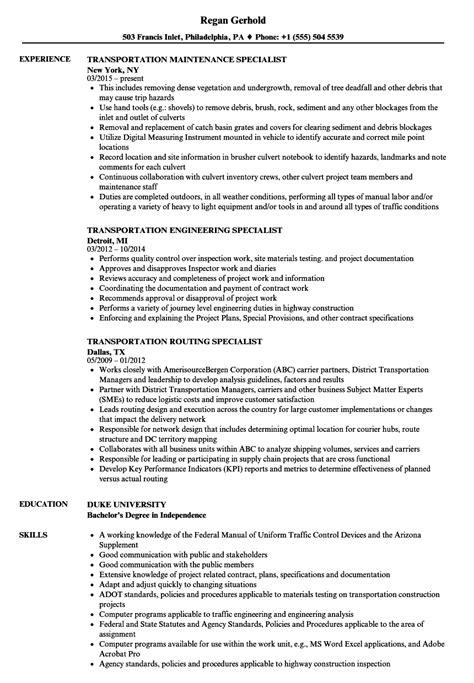 specialist transportation resume samples velvet jobs