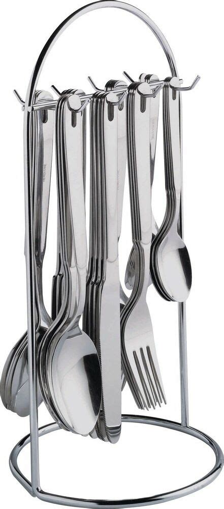 latest  piece stainless steel hanging cutlery set  steel stand ebay