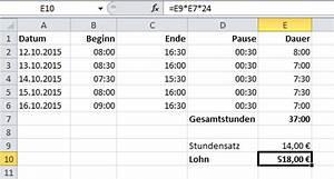 Excel Arbeitszeit Berechnen Formel : berechnungen mit zeitwerten in excel it service ruhr ~ Themetempest.com Abrechnung