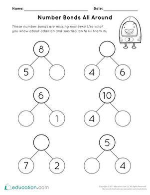 Number Bonds All Around  Worksheet Educationcom