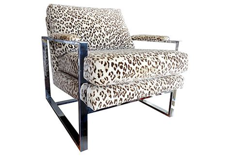 mid century modern milo baughman chrome leopard velvet