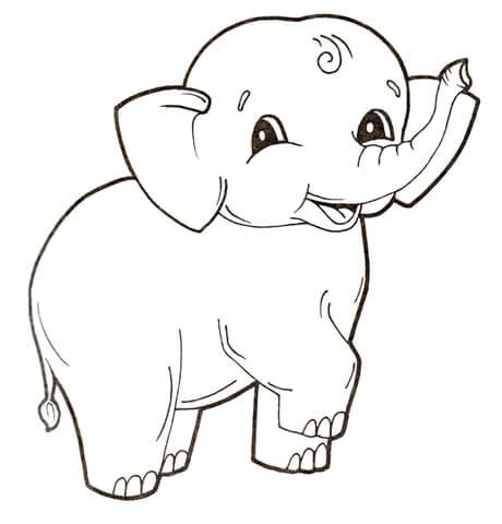 cute baby elephant coloring page supercoloringcom