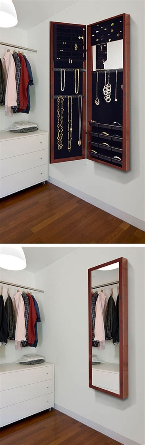 wall mounted jewelry armoire mirror cherry wood amoire