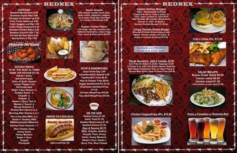 carte cuisine food menu rednex bar grill